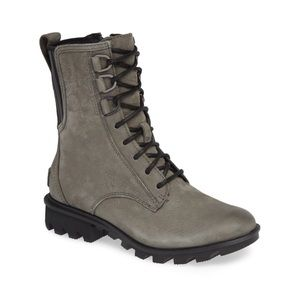 SOREL Phoenix Gray Lace Up Leather Combat Boot 7